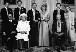 The Prince of Wales, the new Duchess of Cornwall and families after their wedding at Windsor on 9 April 2005