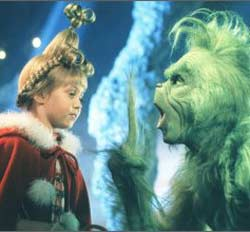 Taylor Momsen as Cindy Lou Who and Jim Carrey as the Grinch in Ron Howard's How The Grinch Stole Christmas (2000)