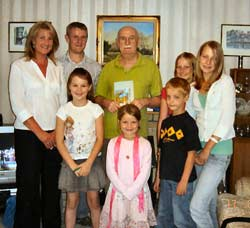 David A Wright with his family presenting his new book, 'Cheshire Tales'
